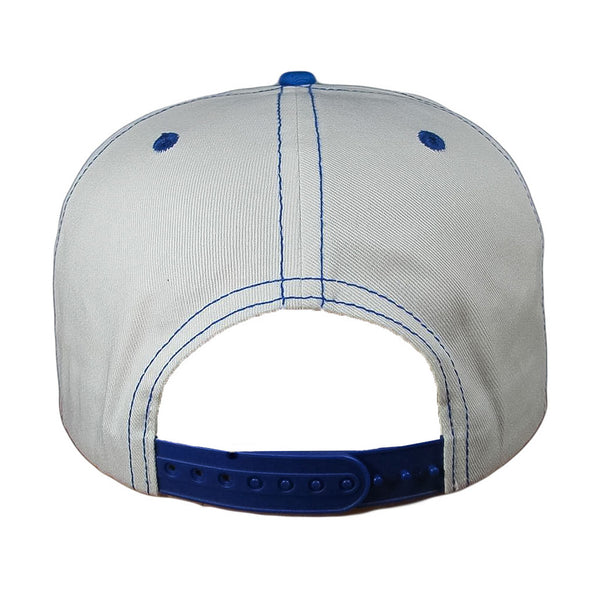 Back view of white snapback with blue stitching.