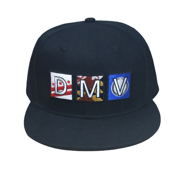 Black snapback with embroidered DMV logo