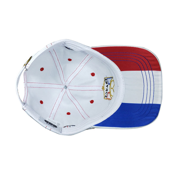Underside of France World Cup cap showing French flag underneath bill