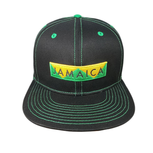Black snapback with green stitching, Jamaica design embroidered on front