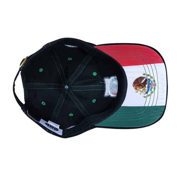 Underside of Mexico World Cup cap showing Mexican flag underneath bill.