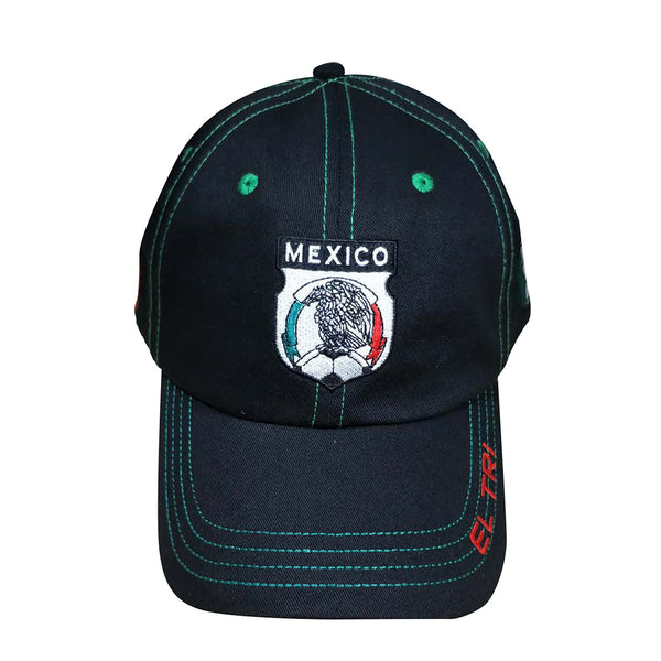 Black cap with green stitching. Mexico football insignia embroidered on front. Bill reads El Tri. Football in red, white, and green on side.