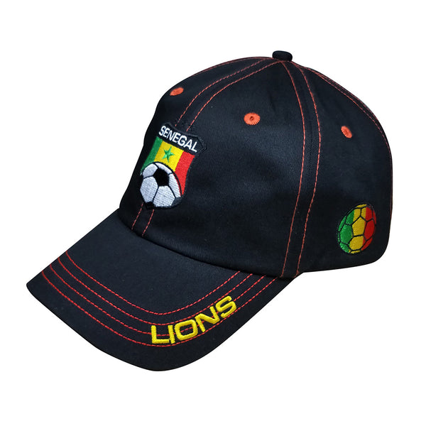 Black cap with red stitching. Senegal football insignia embroidered on front. Bill reads Lions. Football in green, yellow, and red on side.