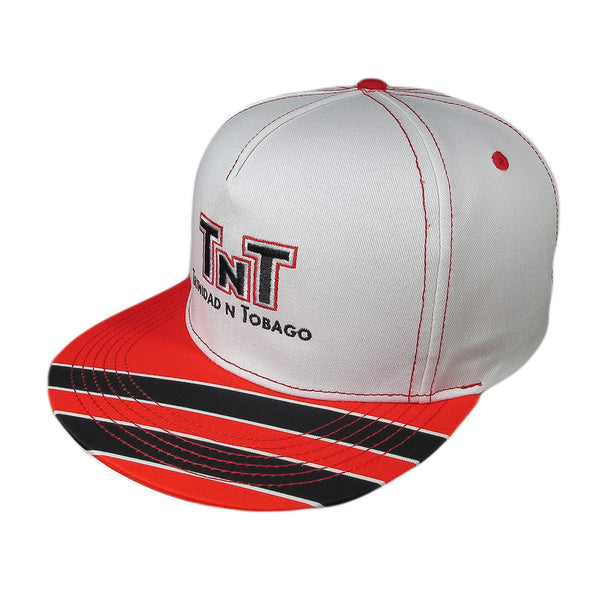 White cap with red stitching. Trinidad and Tobago design embroidered on front. Bill depicts Trinidadian flag on a diagonal.