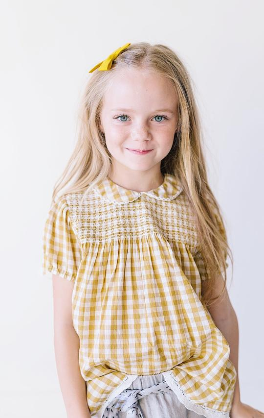 GINGHAM PETER PAN SMOCKED SHIRT