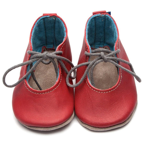 HEIRLOOM LEATHER SHOES - MABEL RED AND NAVY