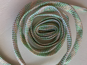 GREEN-GOLD GLITTER LACES, FLAT