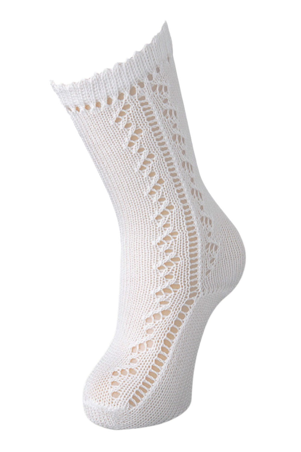 WHITE OPEN WORK KNEE HIGH