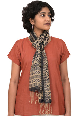 Natural Dye Block Print Silk Stole