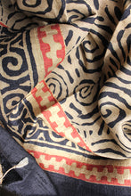 Load image into Gallery viewer, Natural Dye Block Print Silk Stole