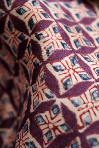 Natural Dye Block Print Silk Fabric