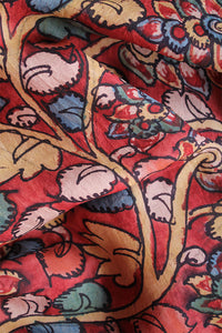 Natural Dye Hand-Painted Kalamkari Silk Fabric
