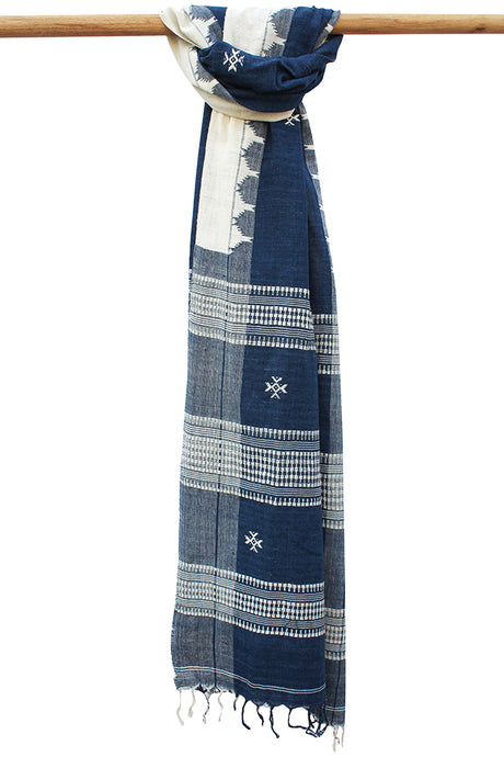 Natural Indigo Tribal Weave Cotton Dupatta
