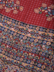 Natural Dye Hand-Painted Kalamkari Silk Sari