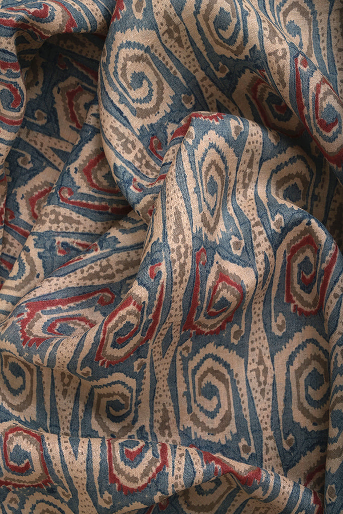 Natural Dye Block Print Tussar Silk x Cotton Fabric