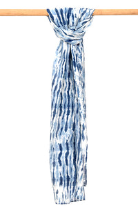 Natural Indigo Shibori Cotton x Silk Stole