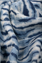 Load image into Gallery viewer, Natural Indigo Shibori Cotton x Silk Stole