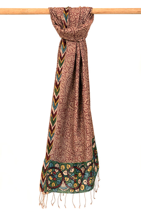 Natural Dye Hand-Painted Kalamkari Silk Stole