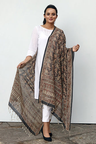 Natural Dye Block Print Cotton Dupatta - Creative Bee