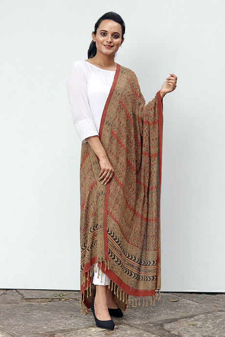 Natural Dye Block Print Silk Dupatta - Creative Bee