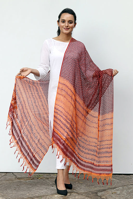 Natural Dye Shibori Filature Silk Dupatta - Creative Bee