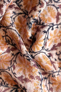 Natural Dye Block Print Linen Fabric - Creative Bee