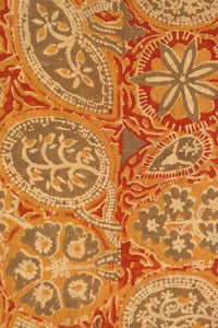 Natural Dye Block Print Cotton x Silk Fabric - Creative Bee