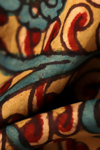 Natural Dye Hand-Painted Kalamkari Silk Fabric - Creative Bee