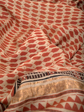 Load image into Gallery viewer, Natural Dye Block Print Tussar x Cotton Sari