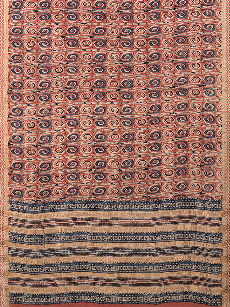 Natural Dye Block Print Tussar x Cotton Sari