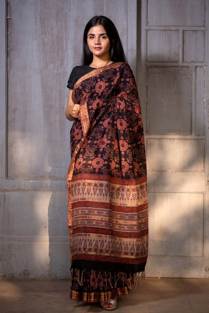 Natural Dye Block Print Cotton Sari - Creative Bee
