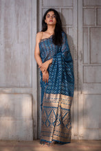 Load image into Gallery viewer, Natural Indigo Block Print Silk Sari - Creative Bee