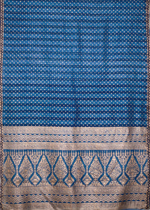 Natural Indigo Block Print Silk Sari - Creative Bee