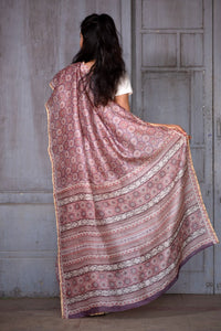 Natural Dye Block Print Silk Sari - Creative Bee