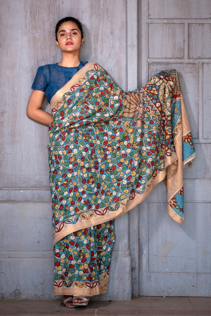 Natural Dye Hand-Painted Kalamkari Cotton Sari - Creative Bee