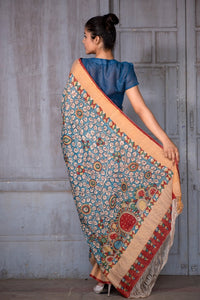 Natural Dye Hand-Painted Kalamkari Silk Sari - Creative Bee