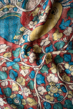 Load image into Gallery viewer, Natural Dye Hand-Painted Kalamkari Silk Sari - Creative Bee