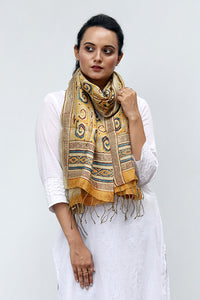 Natural Dye Block Print Silk Stole - Creative Bee