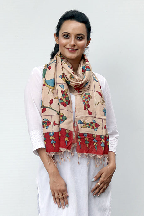 Natural Dye Hand-Painted Kalamkari Silk Stole - Creative Bee
