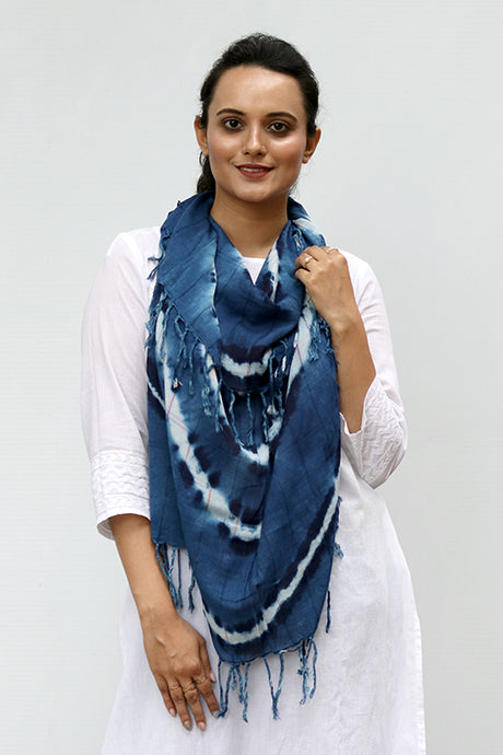 Natural Indigo Shibori Cotton Stole - Creative Bee