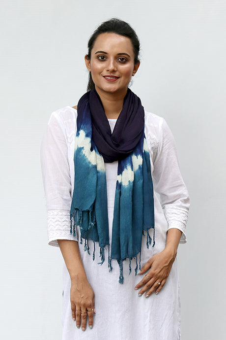Natural Indigo Shibori Cotton x Silk Stole - Creative Bee