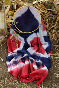 Natural Dye Shibori Cotton x Silk Stole - Creative Bee