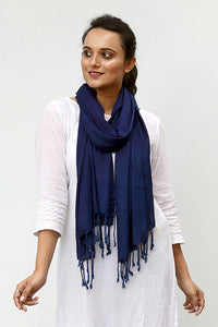 Natural Indigo Cotton x Silk Stole - Creative Bee