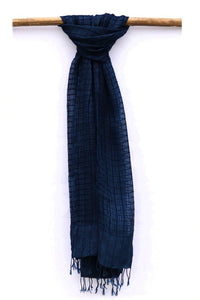 Natural Indigo Signature Weave Silk Stole - Creative Bee