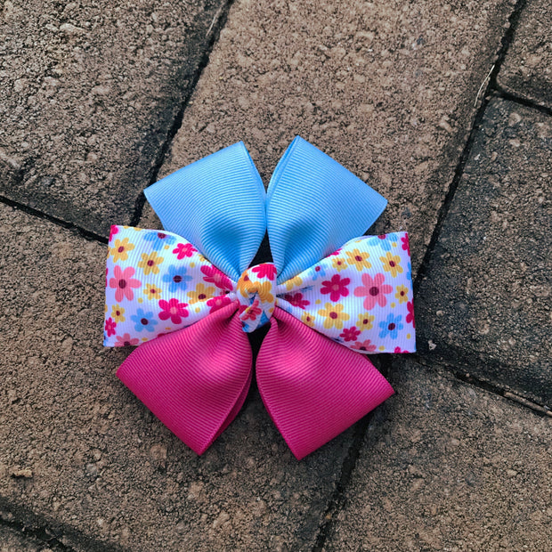 Boutique Dog Bow | Pink Blue Floral | Stitchpet