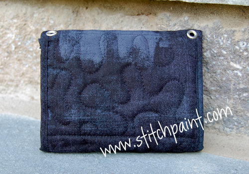 Mini Wallet Back | Black Grunge Fabric | Stitchpaint