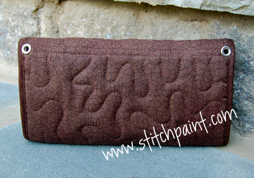 Clutch Wallet Back | Brown Crackle Fabric | Stitchpaint