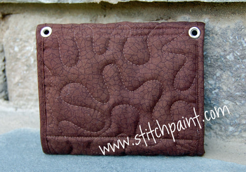 Mini Wallet Back | Brown Crackle Fabric | Stitchpaint