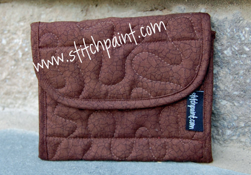 Mini Wallet | Brown Crackle Fabric | Stitchpaint