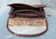 Clutch Wallet Inside | Brown Crackle Fabric | Stitchpaint